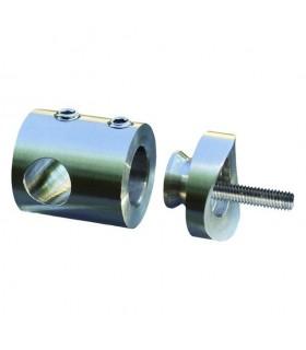 Connecteur en applique pour rond Ø10mm sur tube ø42,4mm INOX 316