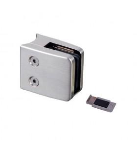 Pince à verre carrée 55mm en zamac brossé pour tube rond Ø42,4mm