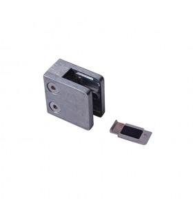 Pince à verre 45mm en ZAMAC BRUT pour poteau carré ou plat.