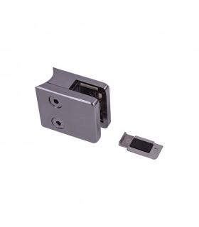 Pince à verre 45mm en ZAMAC BROSSE pour poteau en tube Ø42,4mm