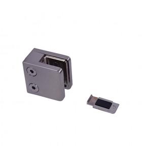 Pince à verre 45mm en ZAMAC BROSSE pour poteau carré ou plat.