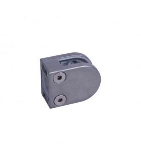 Pince à verre ronde 40x50mm en ZAMAC BROSSE pour plat ou poteau carré