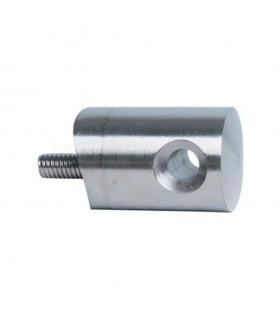 Connecteur en applique inox 316 pour passage de câble Ø6mm, montage sur tube Ø42,4mm.