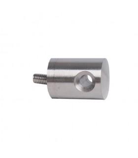 Connecteur en applique inox 316 pour passage de câble Ø6mm, montage sur tube carré ou fer plat.