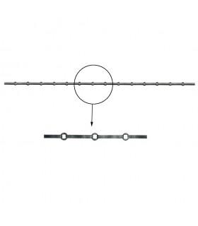 Barre trous renflés 14x14mm percée de 14 trous pour carré de 12x12mm