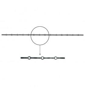 Barre trous renflés 14x14mm percée de 14 trous pour barres carré 14x14mm droits