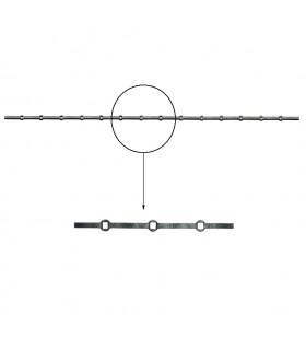 Barre trous renflés 16x16 percée de 14 trous pour carré 16x16 droits