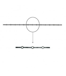 Barre trous renflés 20x20mm percée de 13 trous pour carré 20x20mm droits