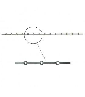 Barre trous renflés 14x14mm percée de 14 trous losange pour carré 14x14mm - longueur 2m