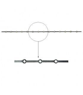 Barre trous renflés 16x16mm percée de 14 trous losange pour carré 16x16mm - longueur 2m