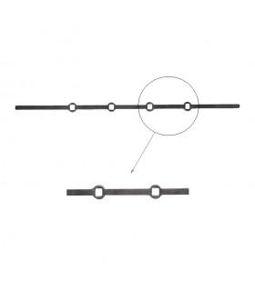Barre 700mm carrée 14x14mm percée de 4 trous renflés droits pour barres de 14x14mm