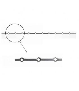 Barre 1500mm carrée 14x14mm percée de 10 trous renflés losange pour barre de 14x14mm