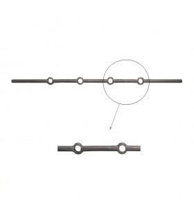 Barre 700mm ronde D16mm percée de 4 trous renflés ronds pour barreaux de D16mm