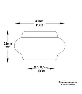 Manchon olive garniture courte acier à souder pour balustre de 14x14mm