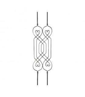 Balustre déco 1100x250mm carré 12x12mm double pour garde corps ou escaliers