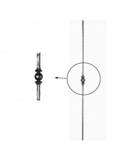 Balustres martelés 1000mm carré de 14x14mm avec un motif central forgé à chaud