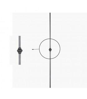 Balustre fer forgé 1000mm carré de 14x14mm grenaillé motif central carré