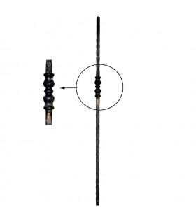 Poteaux acier forgé 1140mm carré de 25x25mm motif décentré de 140mm