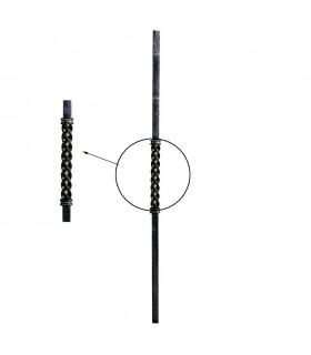 Poteaux acier forgé 1000mm carré 25x25mm longue torsade centrale