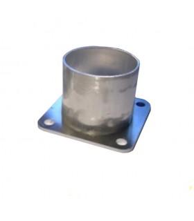 Fixation basse 70mm pour tube aluminium Ø100mm pour poteau modulaire