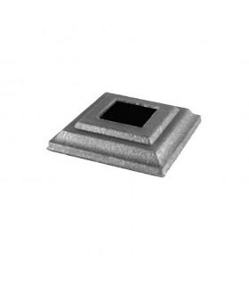 Cache scellement 80x80mm carré de 30x30mm pour poteaux en acier forgé