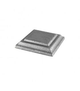 Cache scellement 80x80mm sans orifice en fer forgé pour poteaux acier