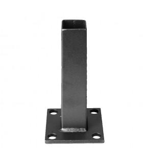 Pied-platine de fixation tube 35x35mm embase 80x80mm pour tube 40x40mm