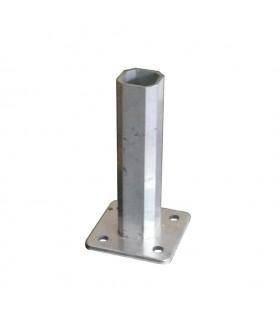 Pied-platine tube 35x35mm embase 80x80mm pour tube 40x40mm aluminium