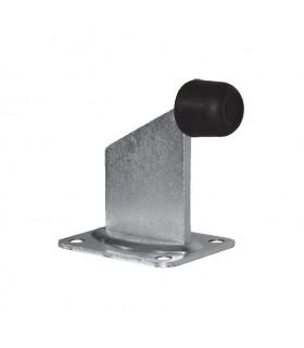 Butée arretoir sur platine en acier galvanisé à à fixer. Butoir caoutchouc