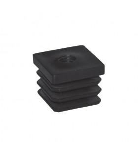 Bouchon nylon 35x35mm taraudé M10 pour tube carré épaisseur entre 1 et 3 mm