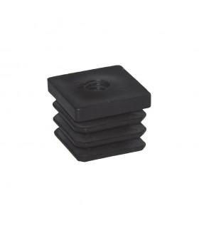 Bouchon nylon 40x40mm taraudé M10 pour tube carré épaisseur entre 1 et 3 mm
