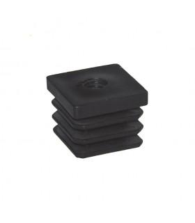 Bouchon nylon 50x50mm taraudé M10 pour tube carré épaisseur entre 1 et 2 mm
