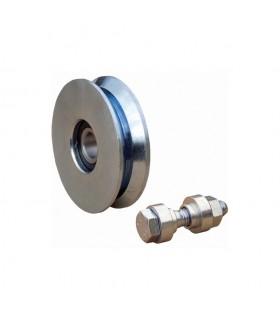 Roulette acier Ø100mm à gorge en V pour portails coulissants