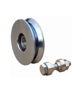 Roulette acier Ø160mm à gorge en V pour portails coulissants