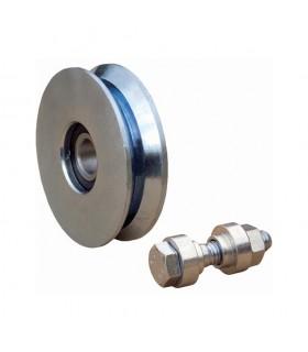 Roulette acier Ø200mm à gorge en V pour portails coulissants