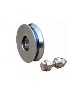 Roulette acier INOX Ø100mm à gorge en V pour portails coulissants