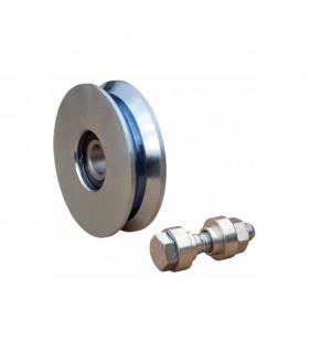 Roulette acier INOX Ø120mm à gorge en V pour portails coulissants