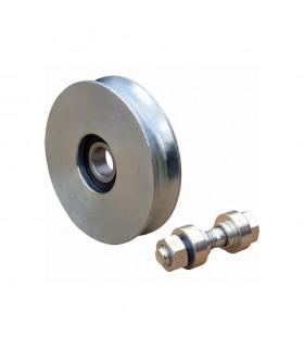 Roulette acier Ø140mm à gorge en U pour portails coulissants