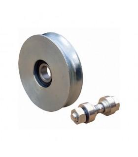 Roulette acier Ø160mm à gorge en U pour portails coulissants