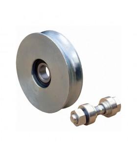 Roulette acier Ø200mm à gorge en U pour portails coulissants