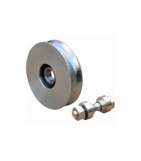 Roulette acier INOX Ø100mm à gorge en U pour portails coulissants