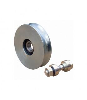 Roulette acier INOX Ø120mm à gorge en U pour portails coulissants