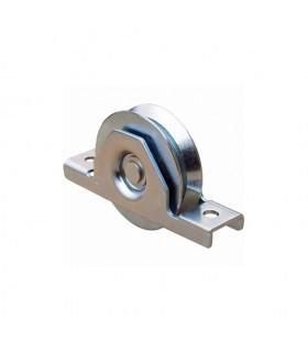 Roulette à encastrer ø50mm avec gorge en V en acier pour tube 60x40x2mm