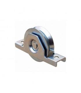 Roulette à encastrer ø60mm avec gorge en V en acier pour tube 60x40x2mm
