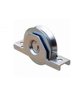 Roulette à encastrer ø100mm avec gorge en V en acier pour tube 80x40mm