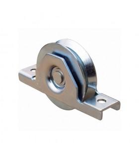 Roulette à encastrer ø140mm gorge en V en acier pour tube 120x40x3mm