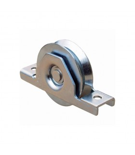 Roulette à encastrer INOX ø120mm gorge en V pour tube 100x40mm