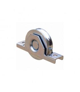 Roulette acier à encastrer Ø50mm gorge en U pour tube 60x40x2mm