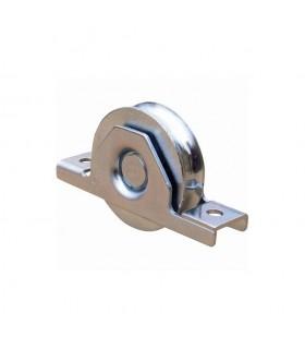 Roulette à encastrer Ø50mm avec gorge en U acier pour tube 60x40x2mm