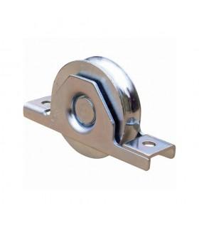 Roulette à encastrer Ø140mm avec gorge en U acier double roulement